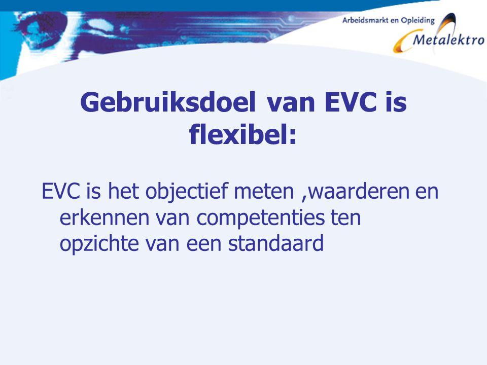 Gebruiksdoel van EVC is flexibel: EVC is het objectief meten,waarderen en erkennen van competenties ten opzichte van een standaard