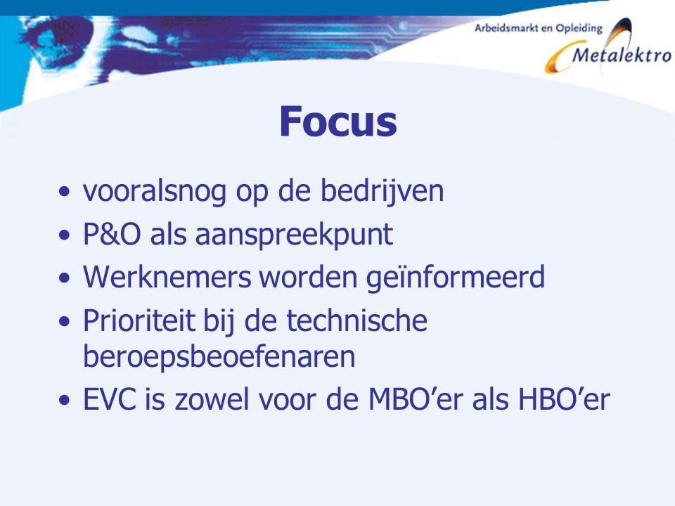 Focus vooralsnog op de bedrijven P&O als aanspreekpunt Werknemers worden geïnformeerd Prioriteit bij de technische beroepsbeoefenaren EVC is zowel voo