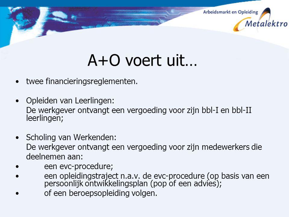 A+O voert uit… twee financieringsreglementen. Opleiden van Leerlingen: De werkgever ontvangt een vergoeding voor zijn bbl-I en bbl-II leerlingen; Scho