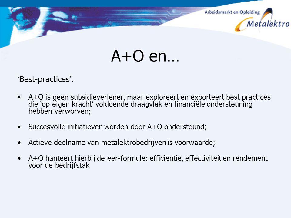 A+O en… 'Best-practices'. A+O is geen subsidieverlener, maar exploreert en exporteert best practices die 'op eigen kracht' voldoende draagvlak en fina