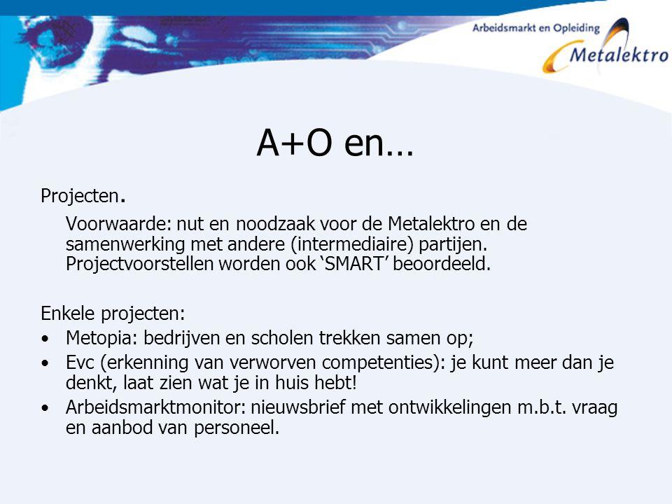 A+O en… Projecten. Voorwaarde: nut en noodzaak voor de Metalektro en de samenwerking met andere (intermediaire) partijen. Projectvoorstellen worden oo