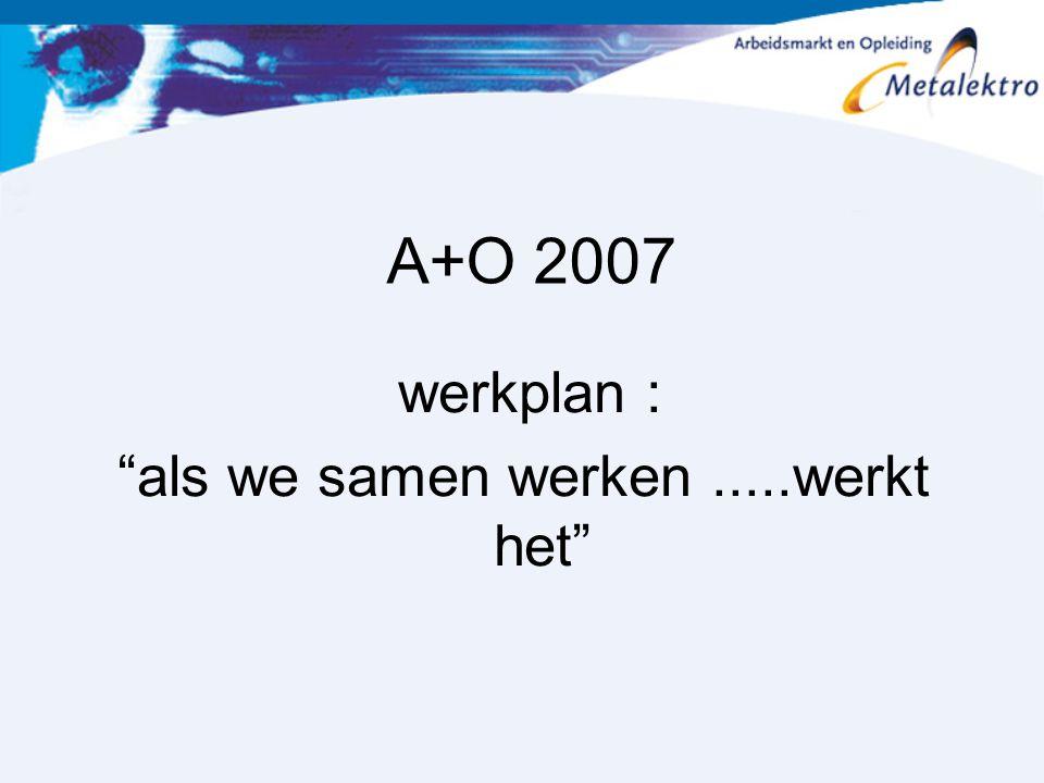 """A+O 2007 werkplan : """"als we samen werken.....werkt het"""""""