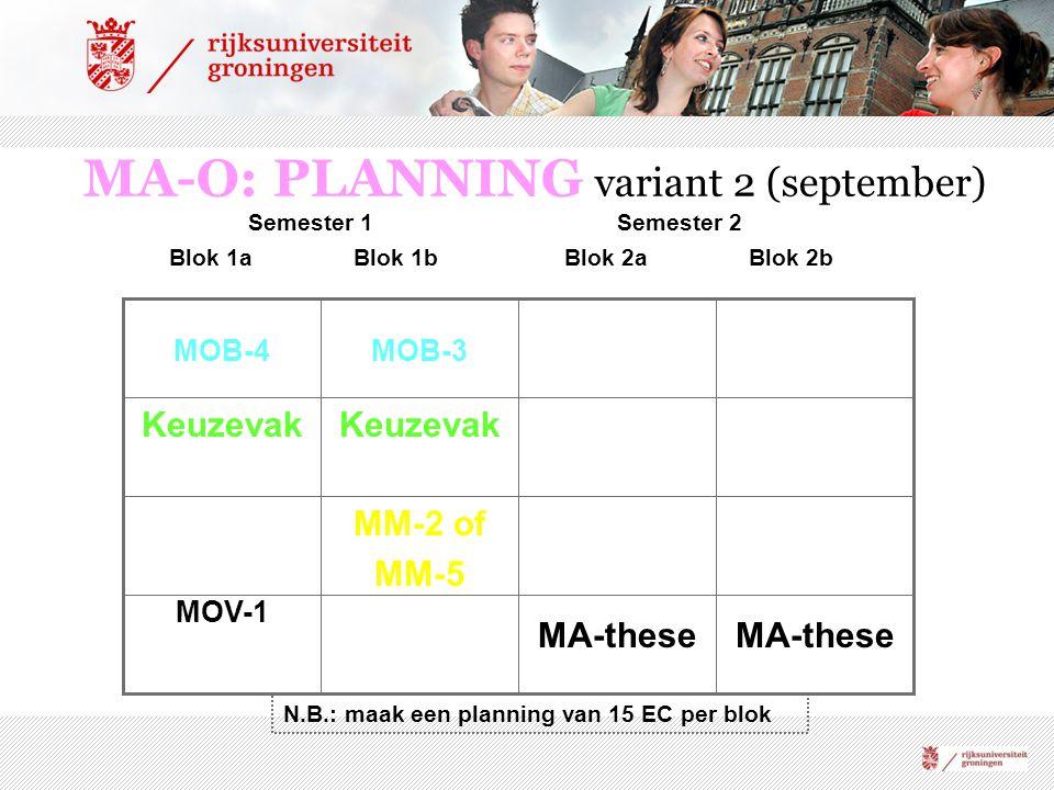 MA-O: PLANNING variant 2 (september) MA-these MOV-1 MM-2 of MM-5 Keuzevak MOB-3MOB-4 Blok 1aBlok 1bBlok 2aBlok 2b Semester 1Semester 2 N.B.: maak een