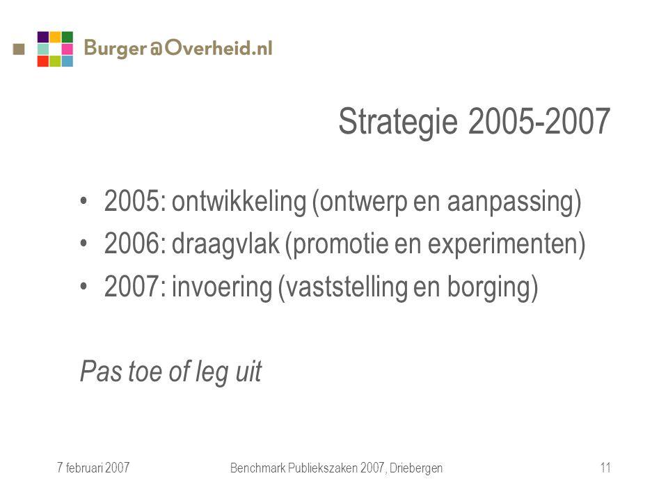 7 februari 2007Benchmark Publiekszaken 2007, Driebergen11 Strategie 2005-2007 2005: ontwikkeling (ontwerp en aanpassing) 2006: draagvlak (promotie en experimenten) 2007: invoering (vaststelling en borging) Pas toe of leg uit