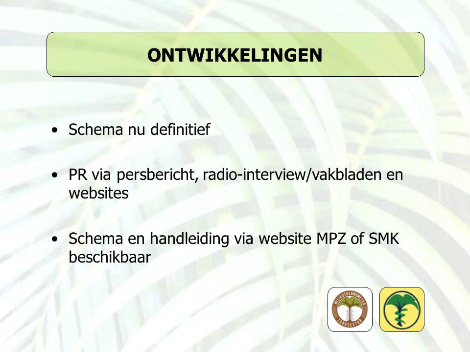 ONTWIKKELINGEN Schema nu definitief PR via persbericht, radio-interview/vakbladen en websites Schema en handleiding via website MPZ of SMK beschikbaar