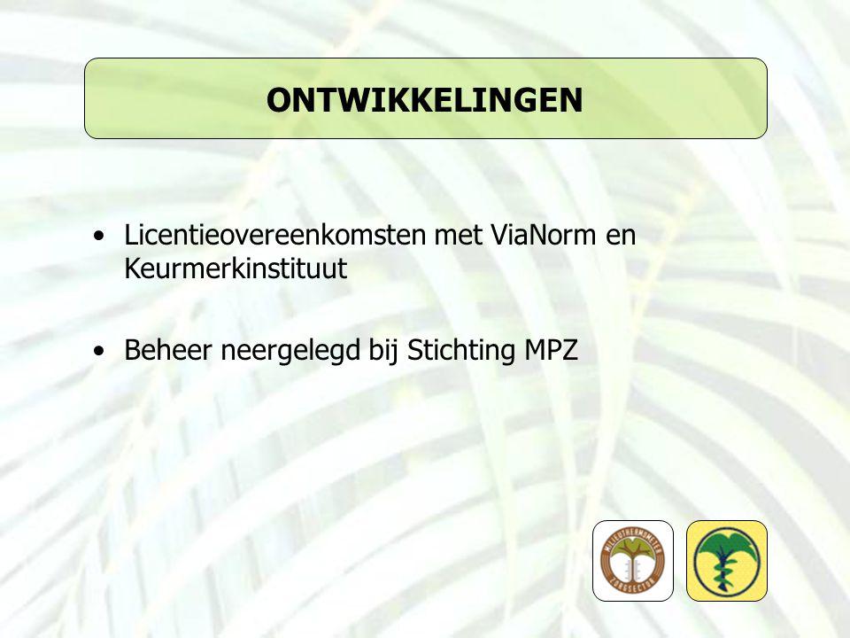 ONTWIKKELINGEN Licentieovereenkomsten met ViaNorm en Keurmerkinstituut Beheer neergelegd bij Stichting MPZ