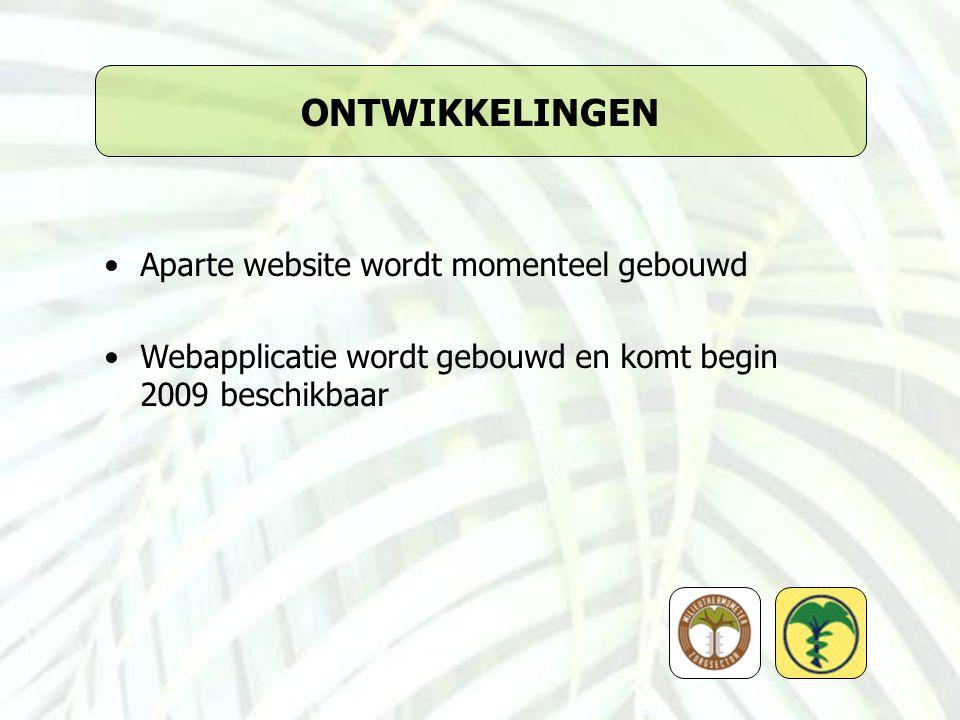 ONTWIKKELINGEN Aparte website wordt momenteel gebouwd Webapplicatie wordt gebouwd en komt begin 2009 beschikbaar