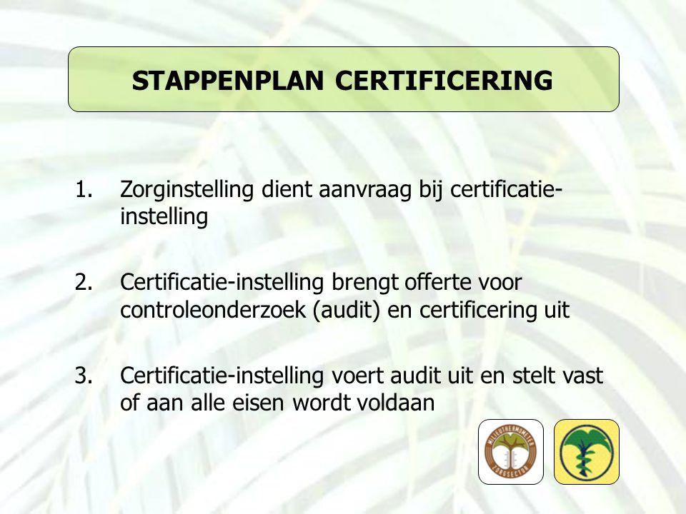 STAPPENPLAN CERTIFICERING 1.Zorginstelling dient aanvraag bij certificatie- instelling 2.Certificatie-instelling brengt offerte voor controleonderzoek (audit) en certificering uit 3.Certificatie-instelling voert audit uit en stelt vast of aan alle eisen wordt voldaan