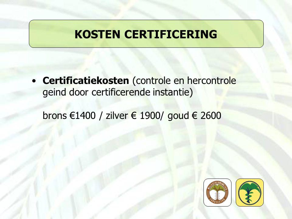 KOSTEN CERTIFICERING Certificatiekosten (controle en hercontrole geind door certificerende instantie) brons €1400 / zilver € 1900/ goud € 2600