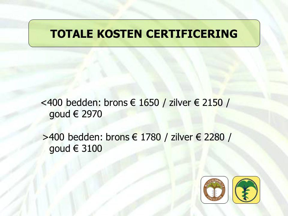 TOTALE KOSTEN CERTIFICERING <400 bedden: brons € 1650 / zilver € 2150 / goud € 2970 >400 bedden: brons € 1780 / zilver € 2280 / goud € 3100