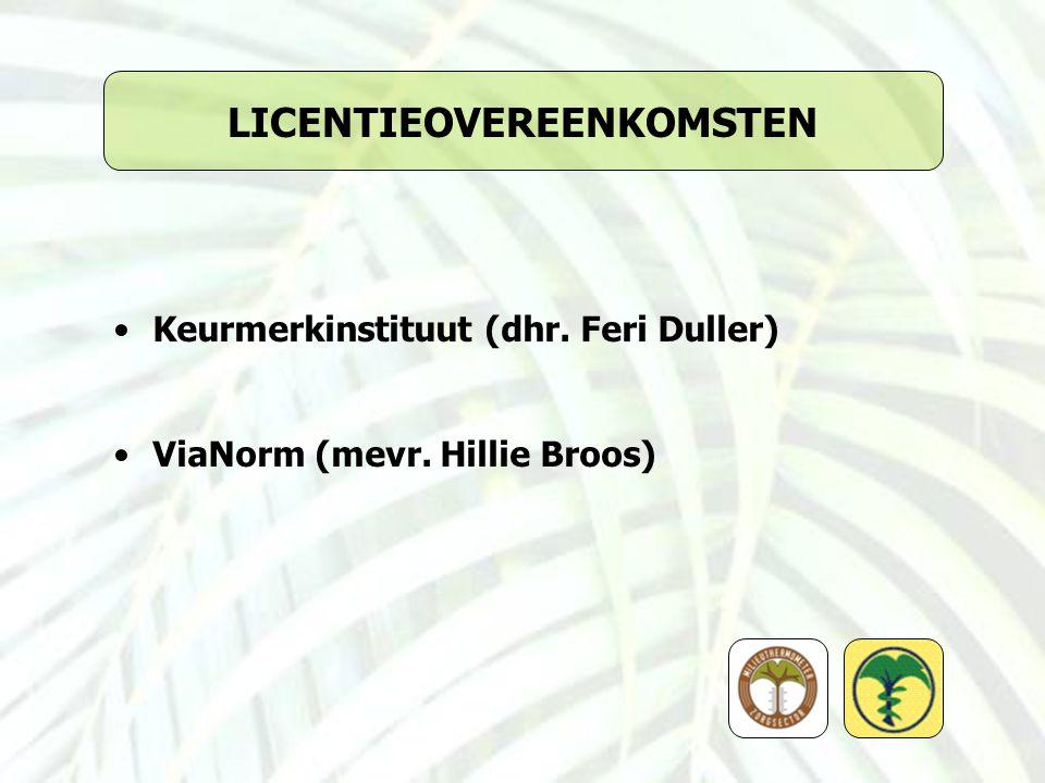 LICENTIEOVEREENKOMSTEN Keurmerkinstituut (dhr. Feri Duller) ViaNorm (mevr. Hillie Broos)