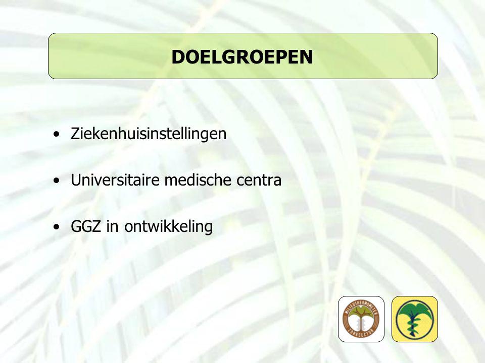 DOELGROEPEN Ziekenhuisinstellingen Universitaire medische centra GGZ in ontwikkeling