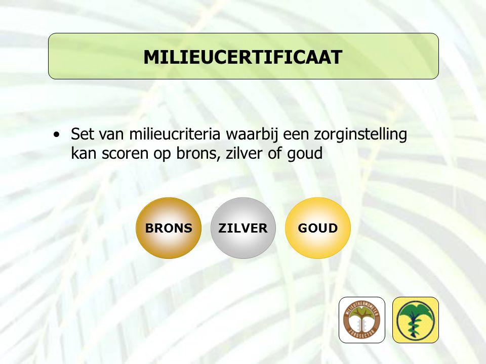 MILIEUCERTIFICAAT Set van milieucriteria waarbij een zorginstelling kan scoren op brons, zilver of goud BRONSZILVERGOUD
