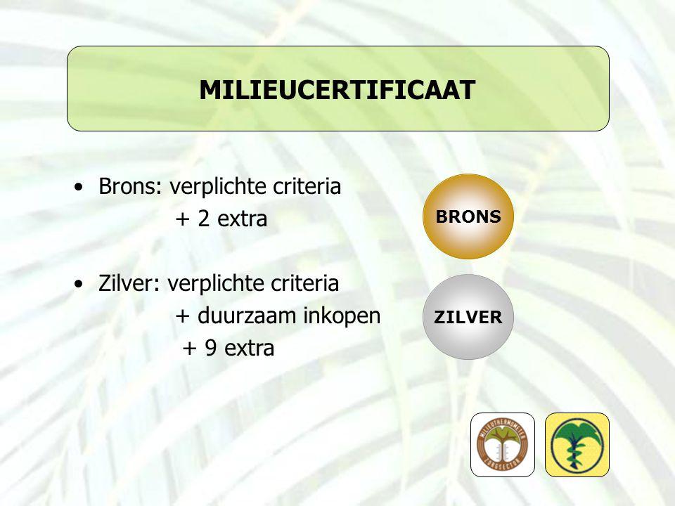 MILIEUCERTIFICAAT Brons: verplichte criteria + 2 extra Zilver: verplichte criteria + duurzaam inkopen + 9 extra BRONS ZILVER
