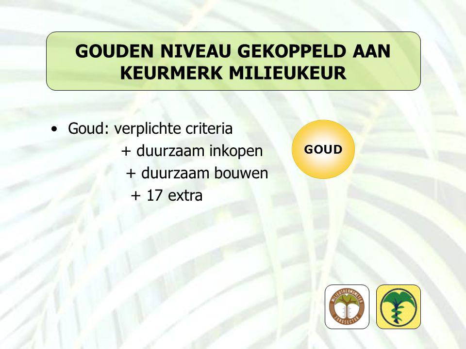 GOUDEN NIVEAU GEKOPPELD AAN KEURMERK MILIEUKEUR Goud: verplichte criteria + duurzaam inkopen + duurzaam bouwen + 17 extra GOUD