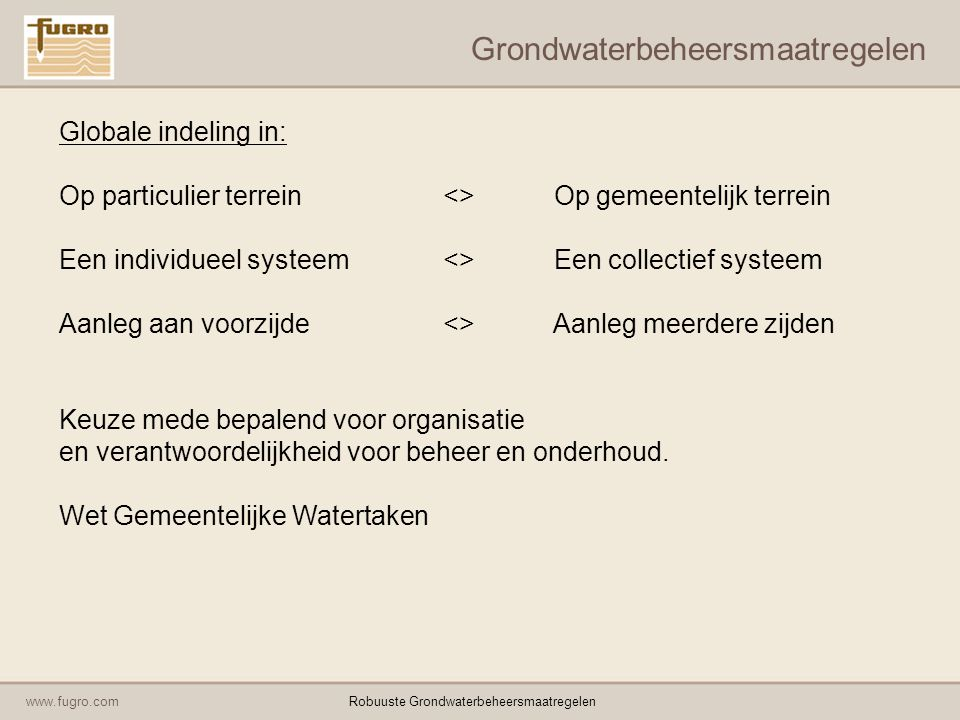 www.fugro.comRobuuste Grondwaterbeheersmaatregelen Grondwaterbeheersmaatregelen Globale indeling in: Op particulier terrein<> Op gemeentelijk terrein