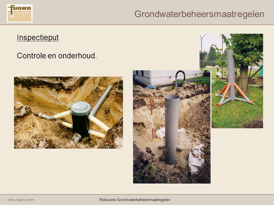 www.fugro.comRobuuste Grondwaterbeheersmaatregelen Grondwaterbeheersmaatregelen Actief verhogen van de grondwaterstand: Pompsysteem voor levering van water; Aanvoerleiding van pompput naar inspectieput; Inspectieput; Drainage/infiltratieleiding in grindkoffer; Peilbuis met (elektrode) meet-/regelsysteem.