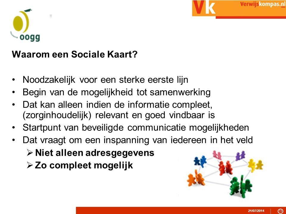 21/07/201414 Waarom een Sociale Kaart.