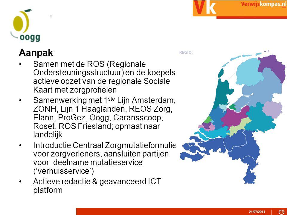 21/07/201417 Aanpak Samen met de ROS (Regionale Ondersteuningsstructuur) en de koepels actieve opzet van de regionale Sociale Kaart met zorgprofielen Samenwerking met 1 ste Lijn Amsterdam, ZONH, Lijn 1 Haaglanden, REOS Zorg, Elann, ProGez, Oogg, Caransscoop, Roset, ROS Friesland; opmaat naar landelijk Introductie Centraal Zorgmutatieformulier voor zorgverleners, aansluiten partijen voor deelname mutatieservice ('verhuisservice') Actieve redactie & geavanceerd ICT platform