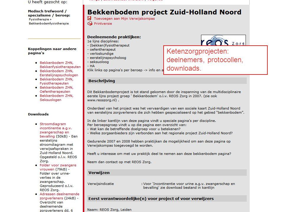 21/07/201424 Ketenzorgprojecten: deelnemers, protocollen, downloads.