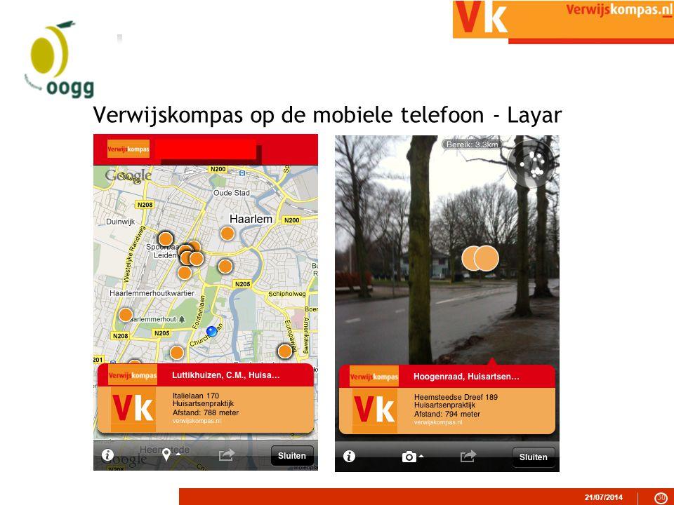 21/07/201430 Verwijskompas op de mobiele telefoon - Layar
