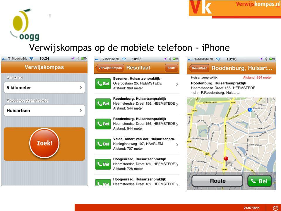 21/07/201431 Verwijskompas op de mobiele telefoon - iPhone