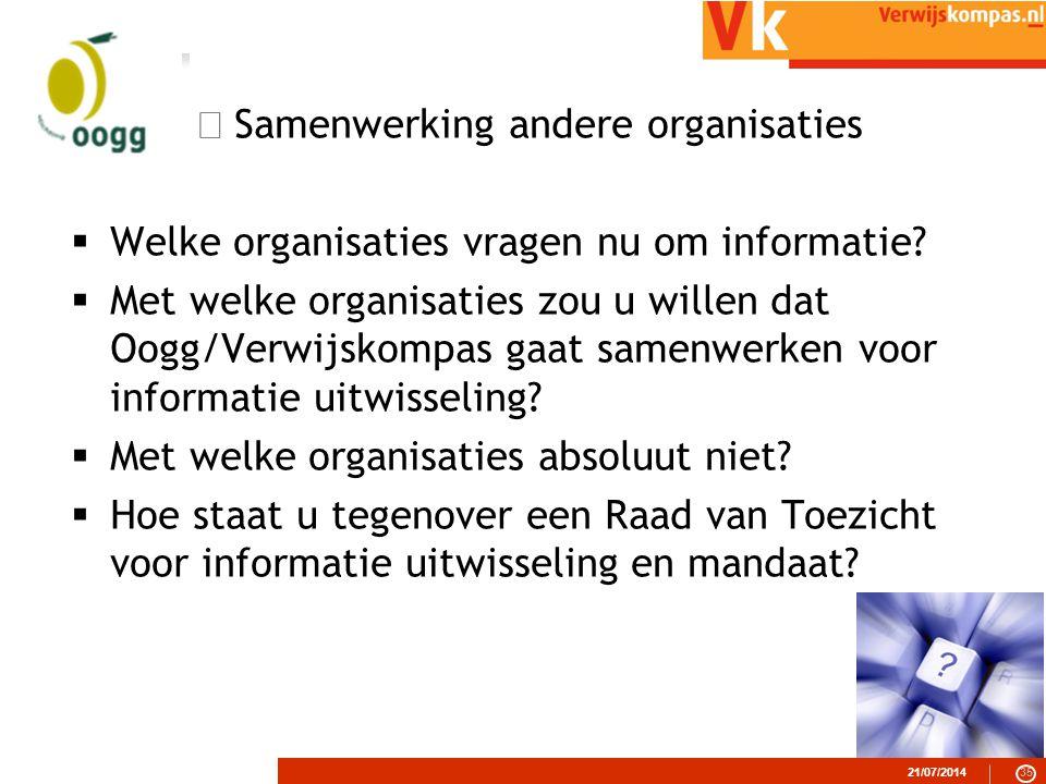  Samenwerking andere organisaties  Welke organisaties vragen nu om informatie.