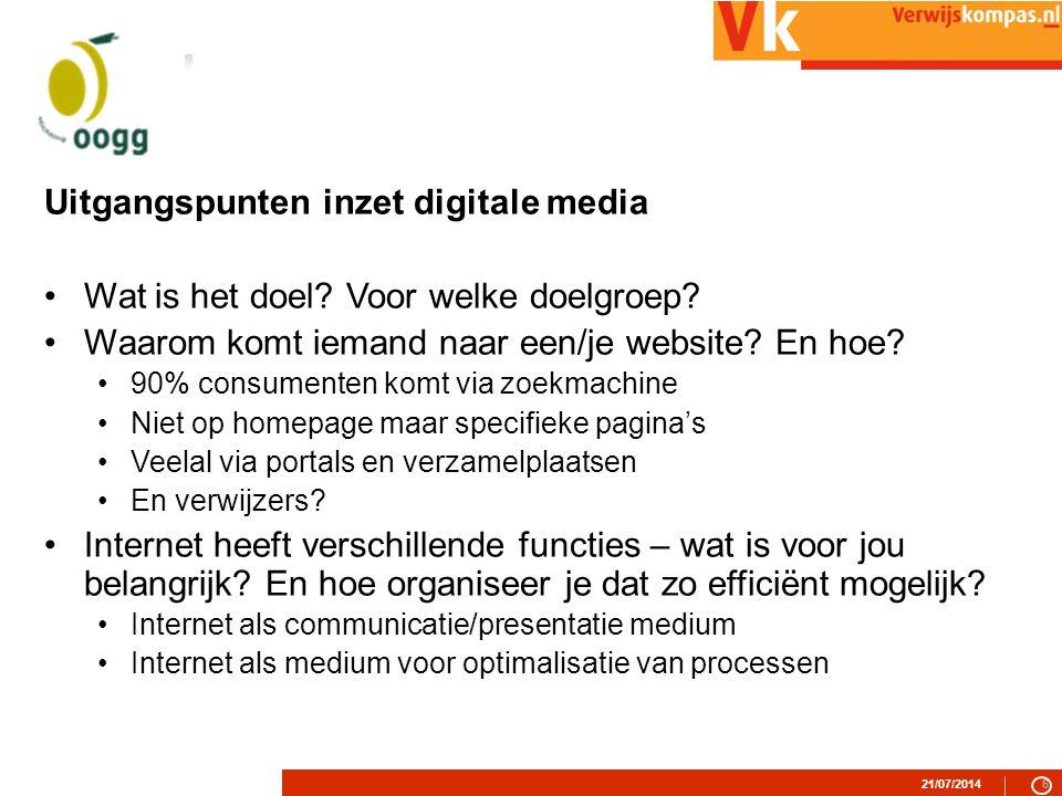 21/07/20146 Uitgangspunten inzet digitale media Wat is het doel.