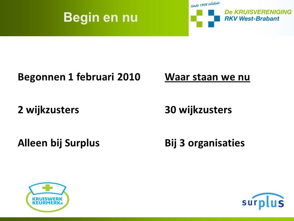 Begin en nu Begonnen 1 februari 2010Waar staan we nu 2 wijkzusters30 wijkzusters Alleen bij SurplusBij 3 organisaties
