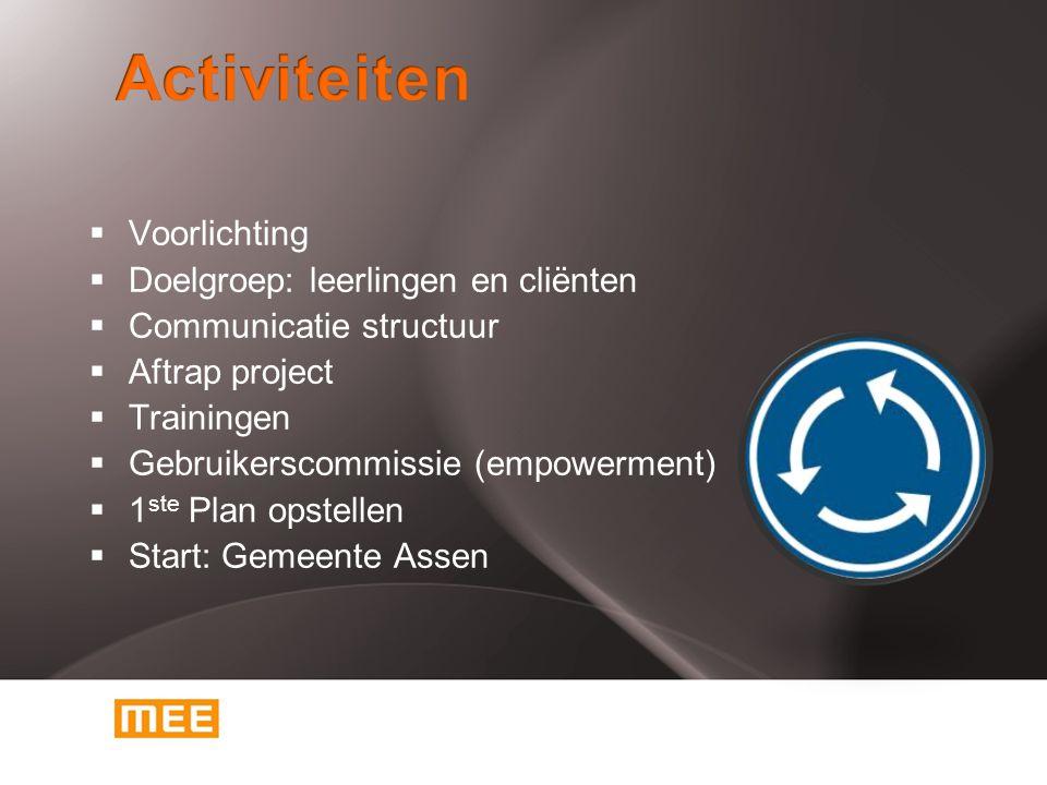  Voorlichting  Doelgroep: leerlingen en cliënten  Communicatie structuur  Aftrap project  Trainingen  Gebruikerscommissie (empowerment)  1 ste
