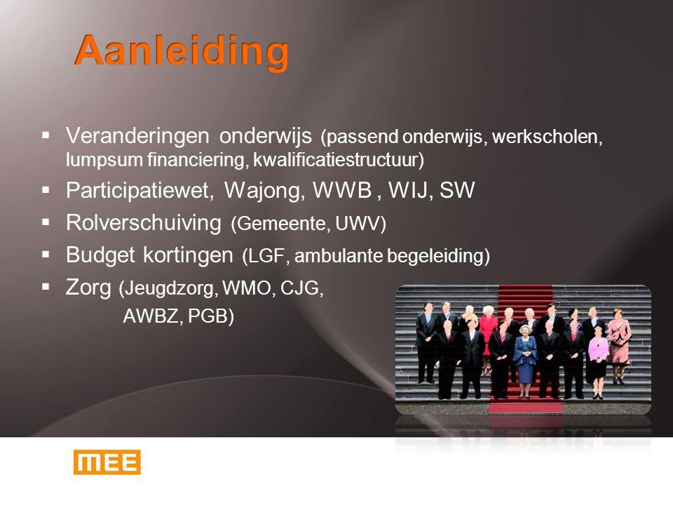  Veranderingen onderwijs (passend onderwijs, werkscholen, lumpsum financiering, kwalificatiestructuur)  Participatiewet, Wajong, WWB, WIJ, SW  Rolv