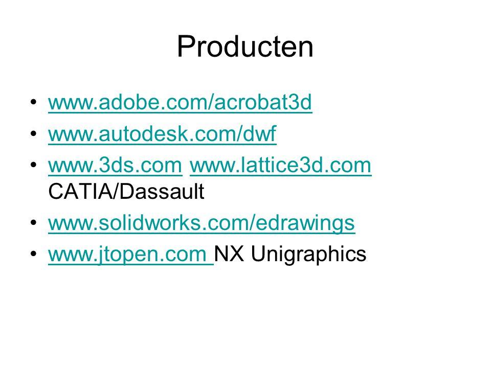 Producten www.adobe.com/acrobat3d www.autodesk.com/dwf www.3ds.com www.lattice3d.com CATIA/Dassaultwww.3ds.comwww.lattice3d.com www.solidworks.com/edr