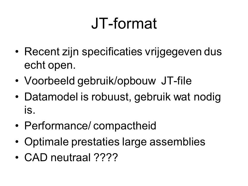 JT-format Recent zijn specificaties vrijgegeven dus echt open. Voorbeeld gebruik/opbouw JT-file Datamodel is robuust, gebruik wat nodig is. Performanc