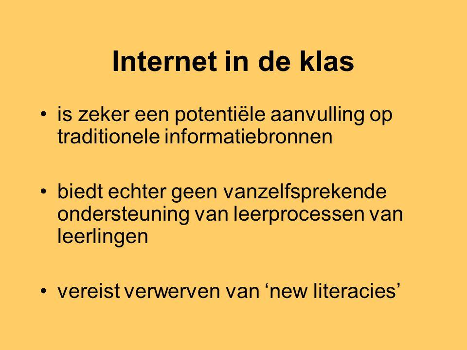 Uit eerder onderzoek blijkt: leerkrachten vinden het moeilijk om internetgebruik in de klas te begeleiden leerlingen gebruiken graag en veel internet, maar… overschatten daarbij hun eigen vaardigheden en weten niet goed wat zoeken op internet met zich meebrengt