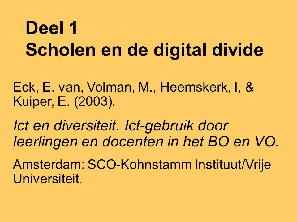 Deel 1 Monique Volman: Scholen en de digital divide Deel 2: Els Kuiper: Leren omgaan met internet