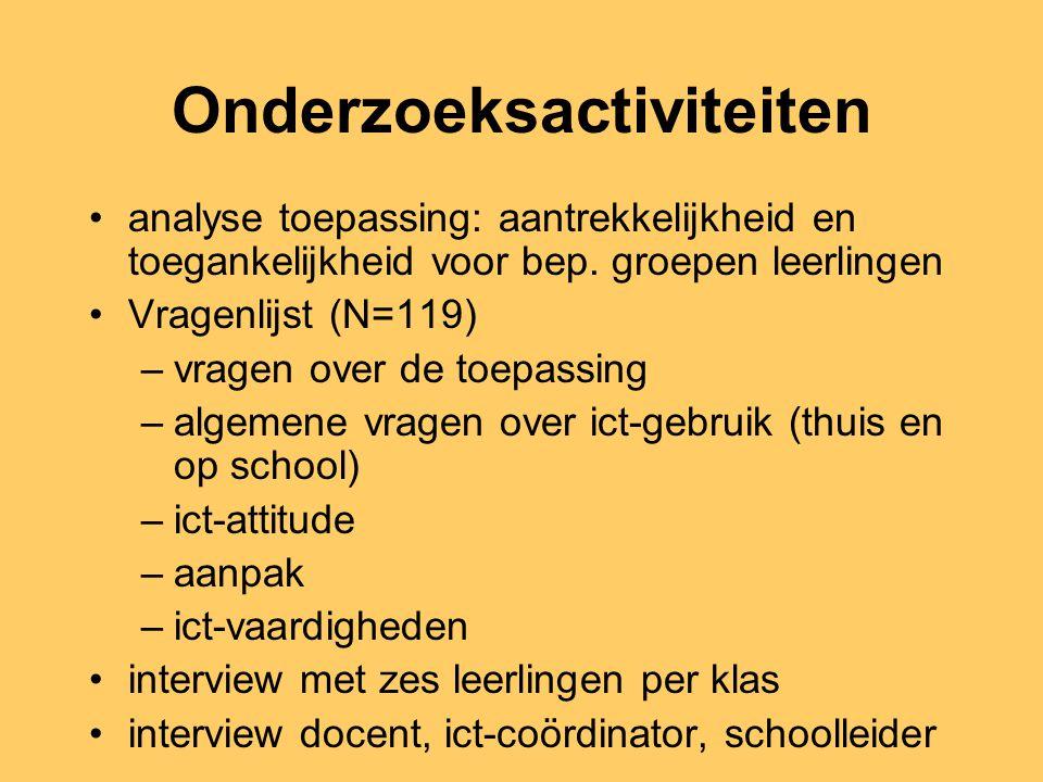 Onderzochte ict-toepassingen Ambrasoft (oefenprogramma taal en rekenen) Je toekomst in Amsterdam (e-mail project) Ontdeknet (leerlingen communiceren met 'experts')