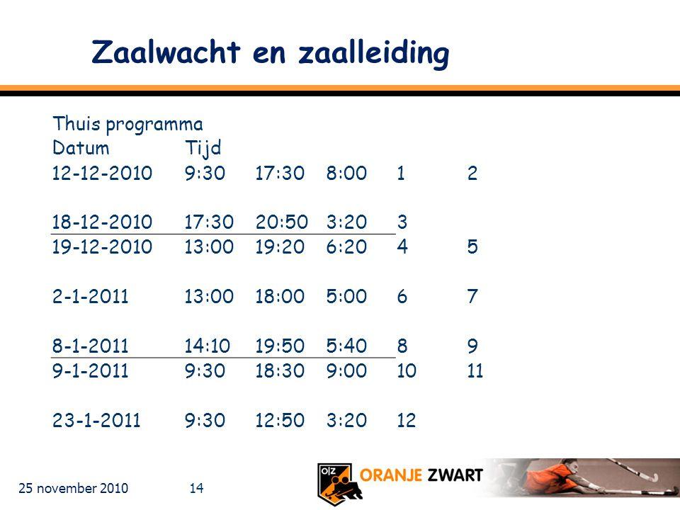 25 november 2010 14 Zaalwacht en zaalleiding Thuis programma DatumTijd 12-12-20109:3017:308:0012 18-12-201017:3020:503:203 19-12-201013:0019:206:2045