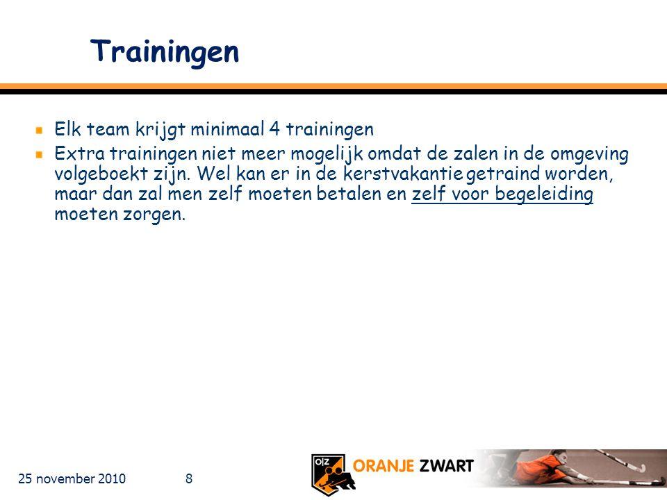 25 november 2010 19 Wedstrijdformulieren Bij thuiswedstrijden blijven de formulieren bij de zaalwacht en bij uitwedstrijden moeten deze binnen één week ingeleverd worden bij de zaalwacht van OZ in ISC of op het adres van Hanneke Kuijten, (Ruusbroeclaan 18 )..