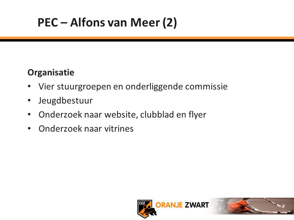 PEC – Alfons van Meer (2) Organisatie Vier stuurgroepen en onderliggende commissie Jeugdbestuur Onderzoek naar website, clubblad en flyer Onderzoek na
