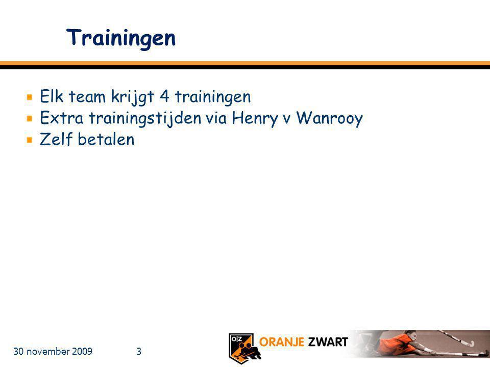30 november 2009 3 Trainingen Elk team krijgt 4 trainingen Extra trainingstijden via Henry v Wanrooy Zelf betalen