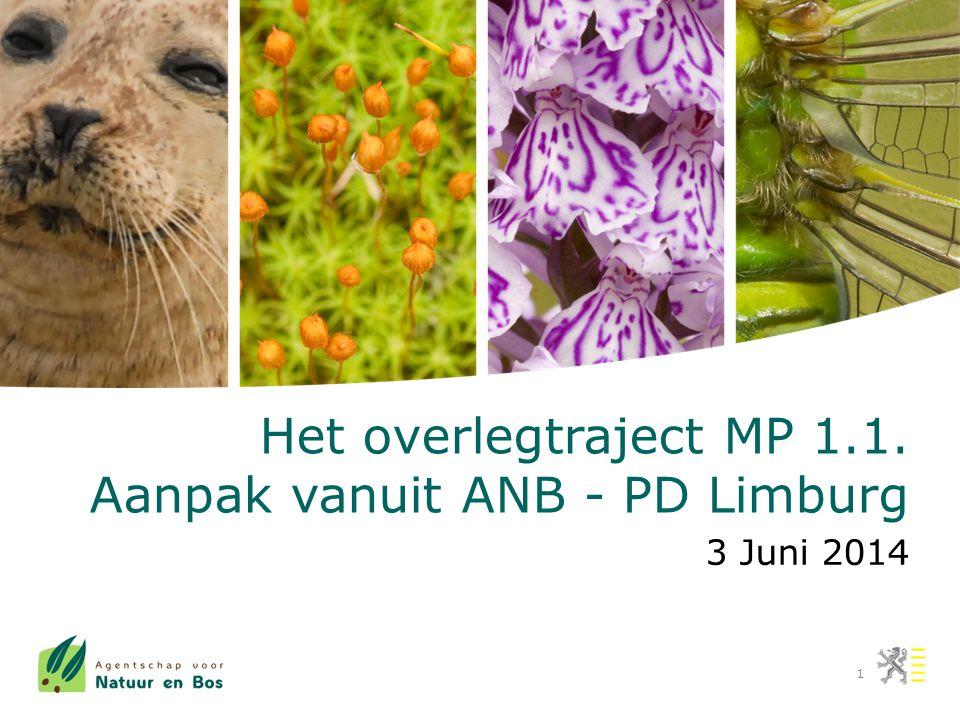 1 Het overlegtraject MP 1.1. Aanpak vanuit ANB - PD Limburg 3 Juni 2014