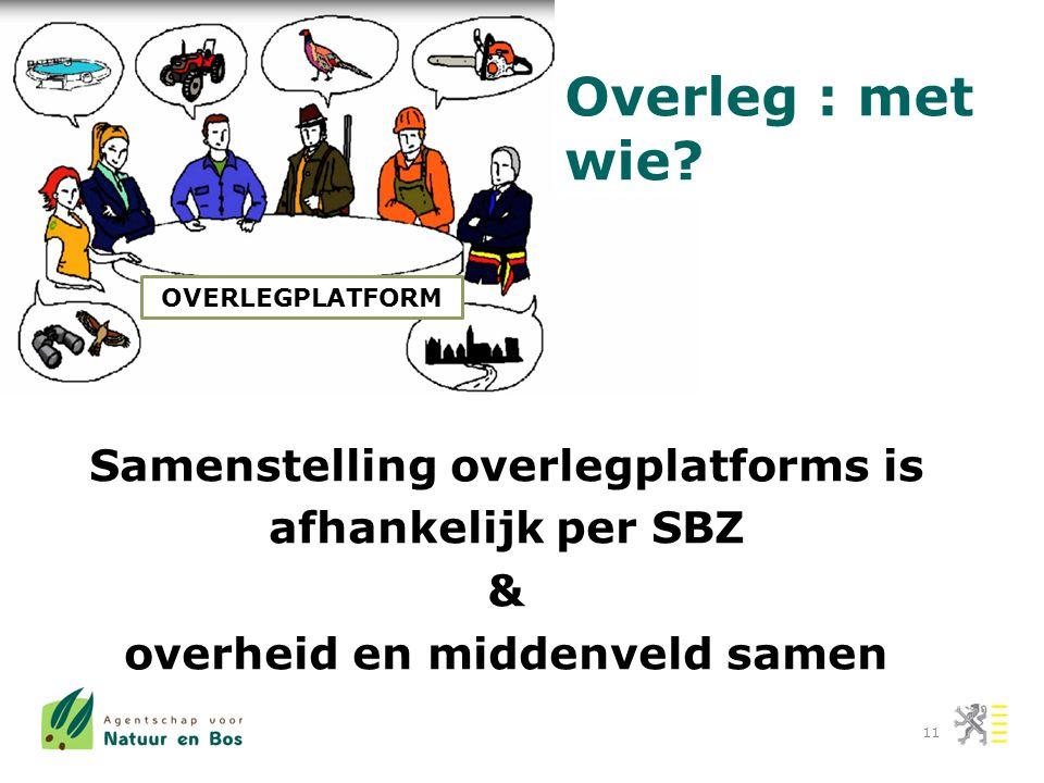 Samenstelling overlegplatforms is afhankelijk per SBZ & overheid en middenveld samen 11 OVERLEGPLATFORM Overleg : met wie?
