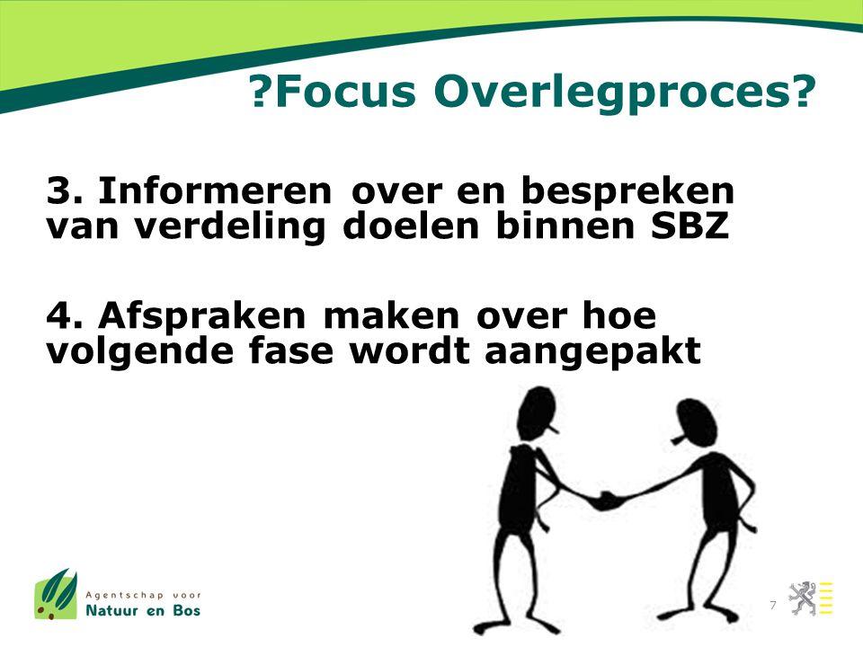 ?Focus Overlegproces. 3. Informeren over en bespreken van verdeling doelen binnen SBZ 4.