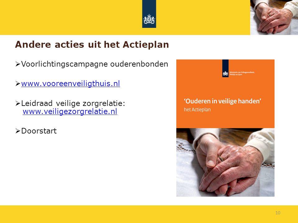 Andere acties uit het Actieplan  Voorlichtingscampagne ouderenbonden  www.vooreenveiligthuis.nlwww.vooreenveiligthuis.nl  Leidraad veilige zorgrela