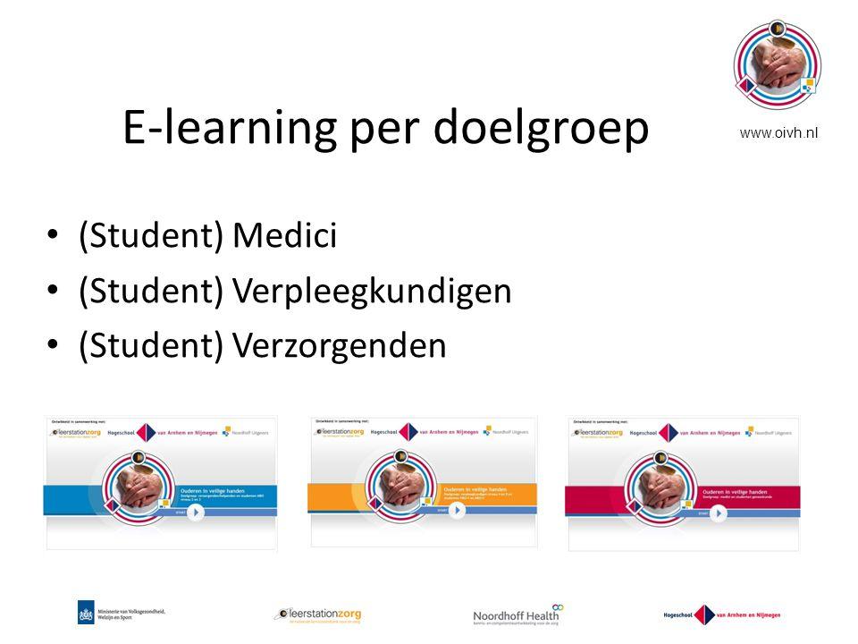 E-learning per doelgroep (Student) Medici (Student) Verpleegkundigen (Student) Verzorgenden