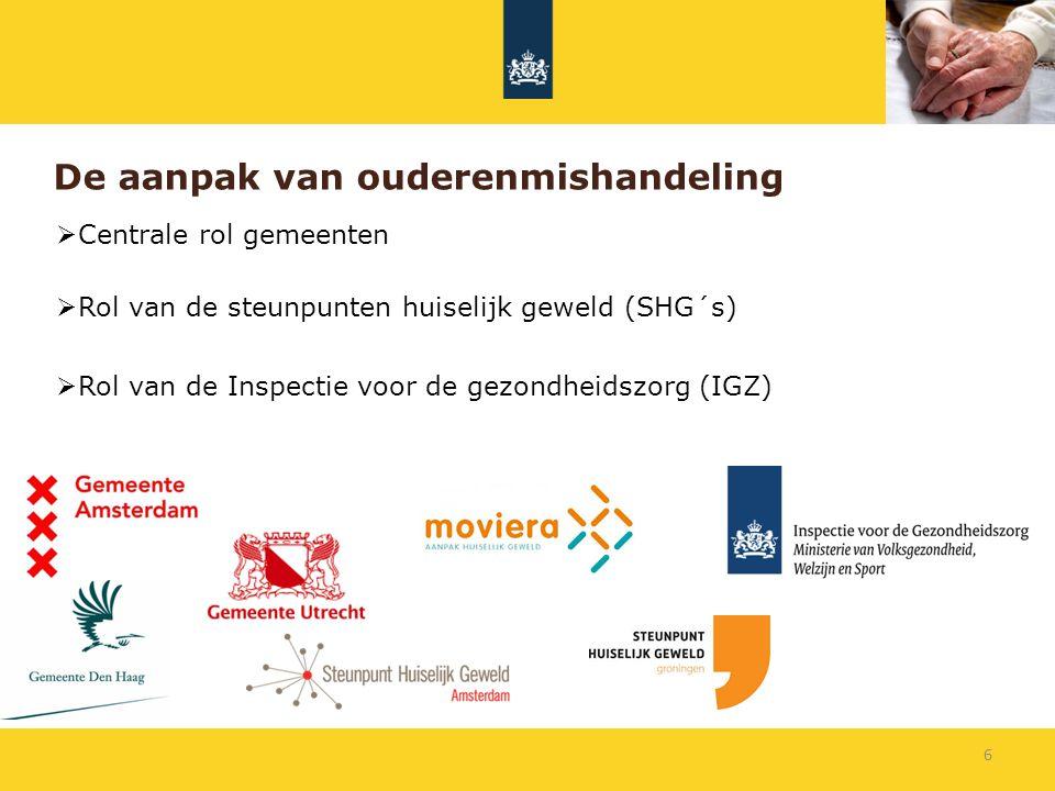 De aanpak van ouderenmishandeling  Centrale rol gemeenten  Rol van de steunpunten huiselijk geweld (SHG´s)  Rol van de Inspectie voor de gezondheid