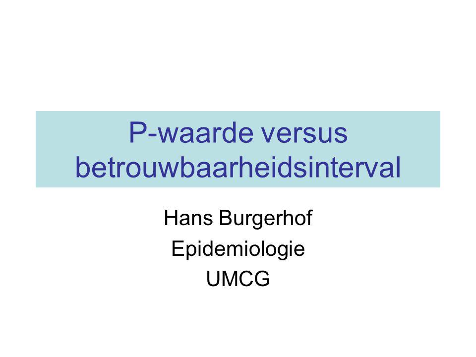 P-waarde versus betrouwbaarheidsinterval Hans Burgerhof Epidemiologie UMCG