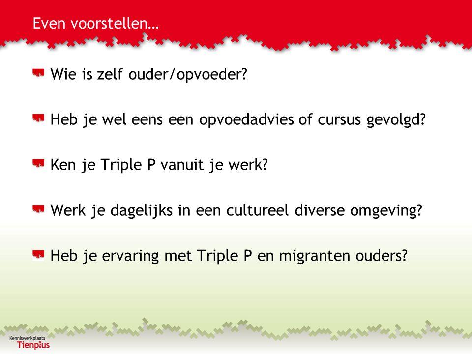 Triple P Divers: Achtergrond Brede implementatie in Amsterdam Diverse populatie (helft jeugd niet-westers) Weinig bekend over toepassing in diverse populatie Onderzoek over opvoeding: migranten ouders deels andere vragen, accenten en minder reflectie (laagopgeleiden) Praktijk: twijfels bij beroepskrachten