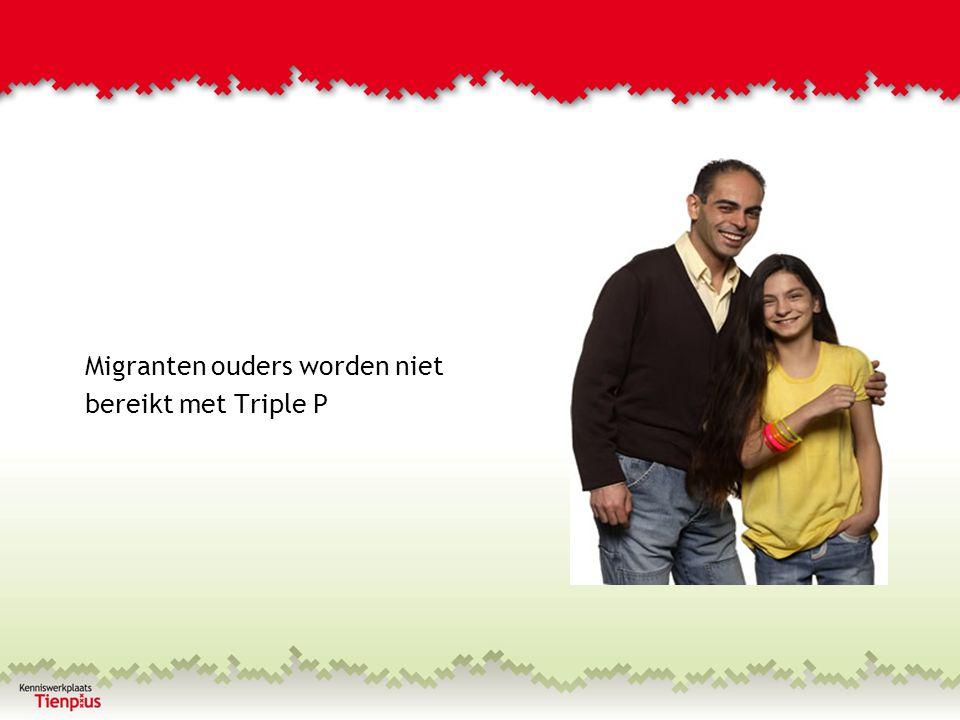 Bereik migranten ouders met Triple P %Triple P Interventies (3 t/m 5) % Kinderen 0 – 12 jaar Amsterdam Autochtoon33%38% Niet-westers allochtoon54%50% Westers allochtoon6%12% Onbekend7%0%