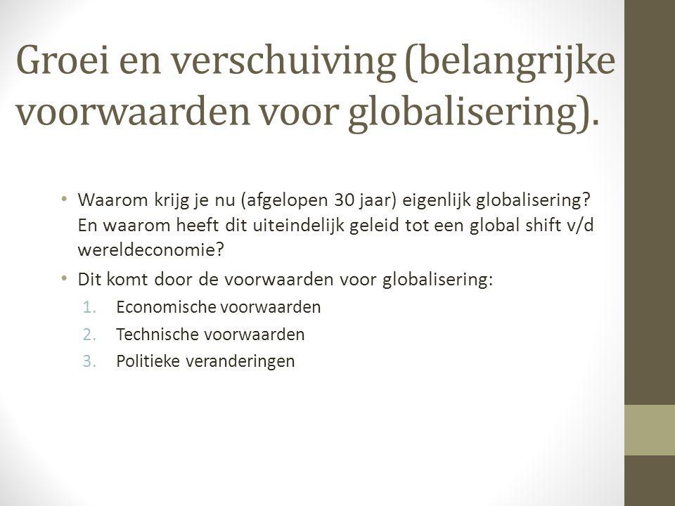 Groei en verschuiving (belangrijke voorwaarden voor globalisering). Waarom krijg je nu (afgelopen 30 jaar) eigenlijk globalisering? En waarom heeft di